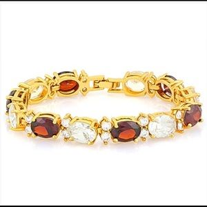 18kt Gold, 27ct Lab Ruby and Lab Diamond Bracelet
